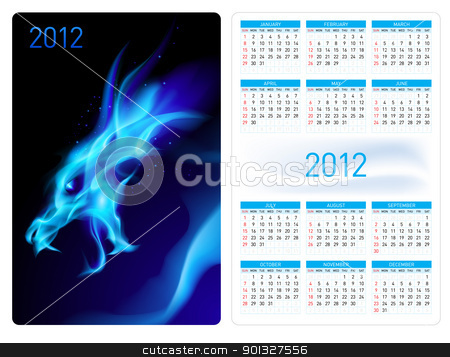 Calendar twenty twelve. Blue Dragon. stock photo, Calendar twenty twelve template. Blue Dragon. Illustration for design by dvarg