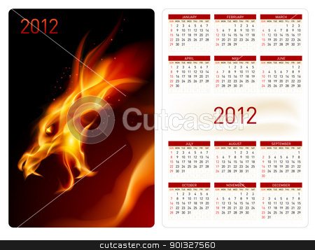 Calendar twenty twelve. Red Dragon. stock photo, Calendar twenty twelve template. Red Dragon. Illustration for design by dvarg