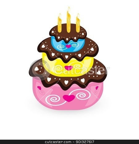 Birthday cake and candle stock photo, Birthday cake and candle. Illustration on white background  by dvarg