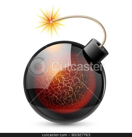 Cartoon bomb stock photo, Cartoon bomb with heart. Illustration on white background by dvarg