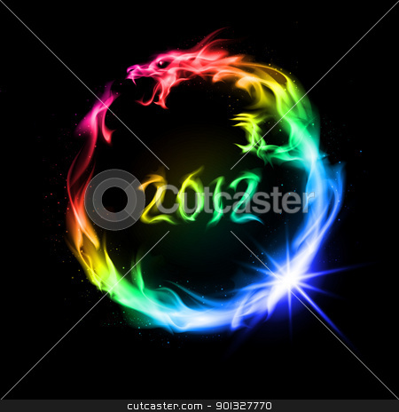Fire rainbow Dragon stock photo, Abstract rainbow  fiery dragon. Illustration on black background for design. by dvarg