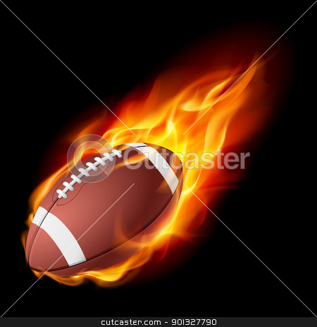 Realistic American football in the fire stock photo, Realistic American football in the fire. Illustration on white background. by dvarg