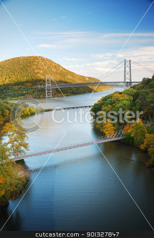 Hudson River valley in Autumn stock photo, Hudson River valley in Autumn with colorful mountain and Bridge over Hudson River. by rabbit75_cut