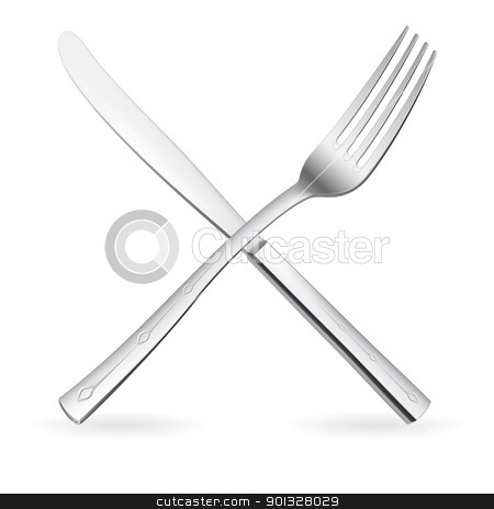 Crossed fork and knife. stock photo, Crossed fork and knife. Illustration on white background. by dvarg