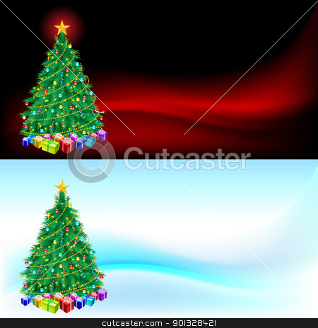 Christmas tree and gifts stock photo, Christmas tree and gifts  - Christmas card for design by dvarg