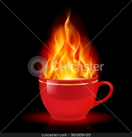 Coffee or tea cup with fire stock photo, Coffee or tea cup with fire. Illustration on white background by dvarg