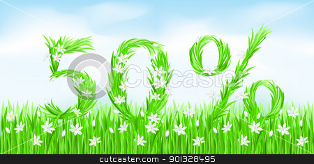 Eco-Style Grass Letters. stock photo, Eco-Style Grass Letters. Fifty percent. Vector version letters is in my gallery. by dvarg