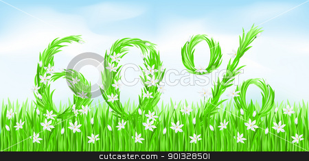Eco-Style Grass Letters. stock photo, Eco-Style Grass Letters. Sixty percent. Vector version letters is in my gallery. by dvarg