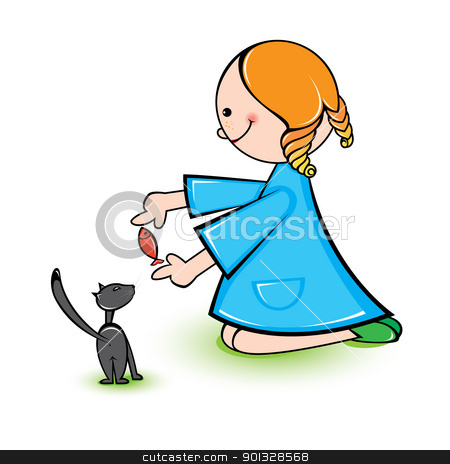 Girl with cat stock photo, Illustration of girl with cat on a white background  by dvarg