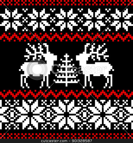 Christmas nordic background stock vector clipart, Christmas nordic pattern with deer and snowflakes on black background. by Ela Kwasniewski