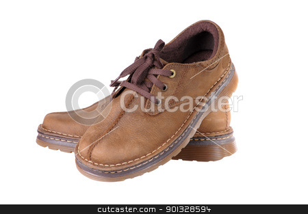 brown shoes stock photo, two brown shoes isolated on white background by Salauyou Yury