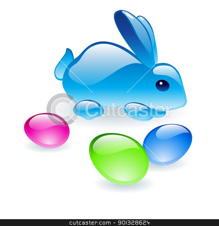 Bunny With Easter Eggs stock photo, Glass Bunny with glass Easter Eggs. Illustration on white background by dvarg