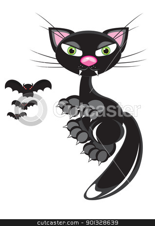 A black Cat and Bats.  stock photo, A black Cat and Bats. Illustration on white by dvarg