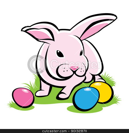 Bunny With Easter Eggs stock photo, Bunny on the grass with Easter Eggs. Illustration on white background by dvarg