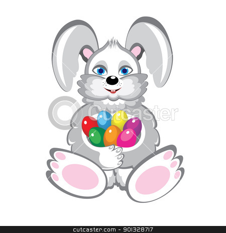 Bunny With Easter Eggs stock photo, Bunny With Easter Eggs. Illustration on white background by dvarg