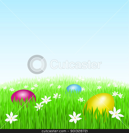 Easter eggs on green grass stock photo, Easter eggs on green grass and white flowers by dvarg