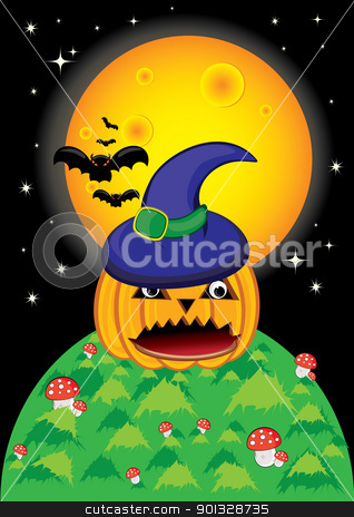 Pumpkin Halloween Card stock photo, Pumpkin Halloween Card with bat, and moon. by dvarg
