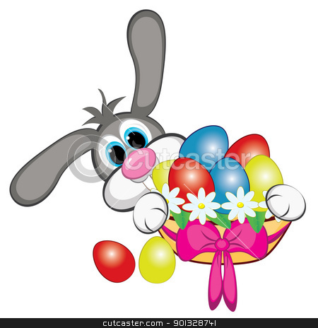 Bunny With Easter Eggs stock photo, Bunny With Easter Eggs And Basket. Illustration on white by dvarg