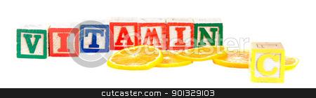 Vitamin C stock photo, Orange slices shot with the word