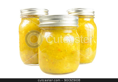 Three Jars of Relish stock photo, Three jars of relish, isolated against a white background. by Richard Nelson