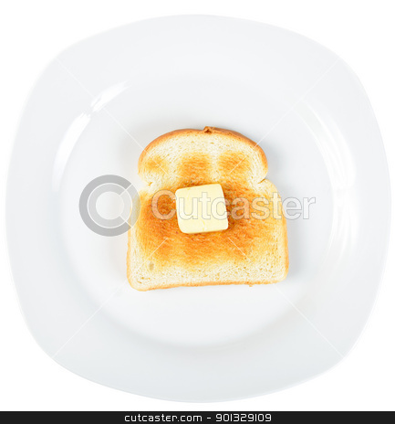 Toast stock photo, A slice of toast on a white plate with a square of butter slowly melting on top. by Richard Nelson
