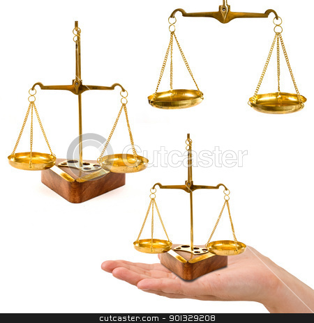 balance stock photo, old balance collage isolated in white background by Grafvision