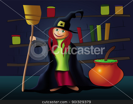 Little witch stock vector clipart, Little witch with broom by aos1212