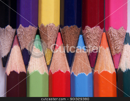 Colored pecils. stock photo, A colorful collage of colored pencil points. by indonesian image