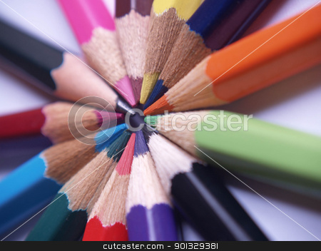 Colored pencils in round shape. stock photo, Colored pencils in round shape. by indonesian image