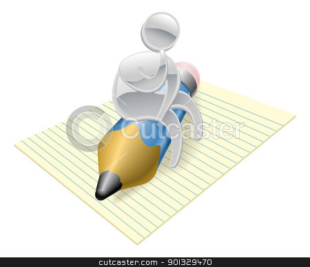 Metallic character writer thinking stock vector clipart, Metallic cartoon mascot character writer thinking concept by Christos Georghiou