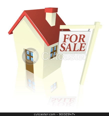House for sale graphic stock vector clipart, Illustration of a house for sale with for sale sign by Christos Georghiou