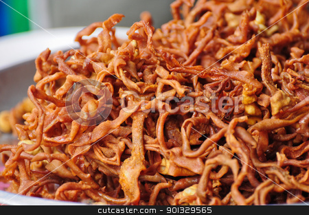 Thai Esan Food stock photo, Thai Esan Food ,Fried Chicken intestine by kowit sitthi
