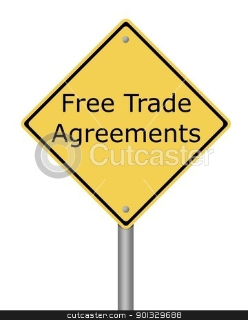 Warning Sign Free Trade Agreement stock photo, Yellow warning sign with the text Free Trade Agreement. by Henrik Lehnerer