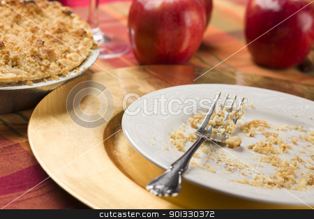 Apple Pie and Empty Plate with Remaining Crumbs stock photo, Apple Pie, Empty Plate with Remaining Crumbs and Fork. by Andy Dean
