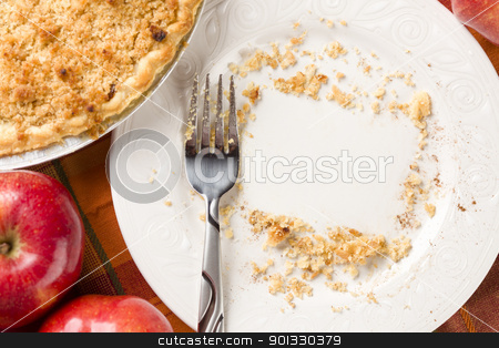 Overhead of Pie, Apples and Copy Spaced Crumbs on Plate stock photo, Overhead Abstract of Apples, Pie, Empty Plate with Remaining Crumbs Cleared Into Rectangular Copy Room Space and Fork - Ready for Your Own Message. by Andy Dean