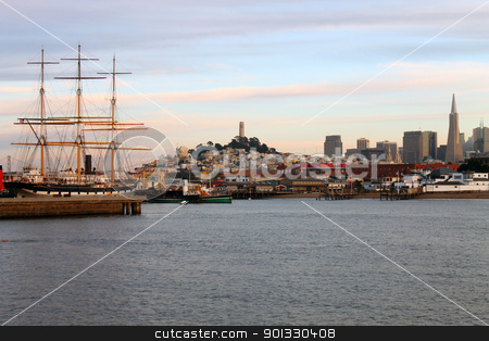 The ship to the city stock photo, A ship on the San Francisco harbour by willeye