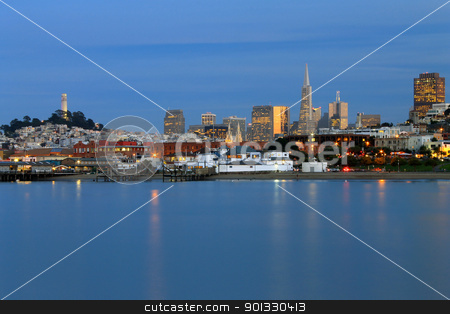 The skyline on the sea stock photo, San Francisco skyline mirrored in a flat sea by willeye