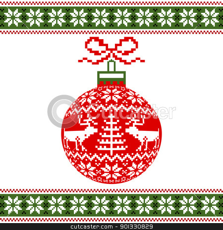 Christmas ball with nordic motif stock vector clipart, Christmas red ball with nordic pattern on white background, vector illustration by Ela Kwasniewski