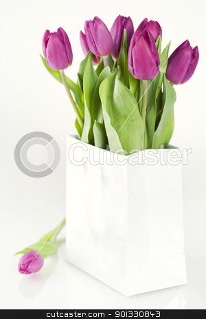 fresh tulips stock photo, fresh tulips in a shopping bag by klenova