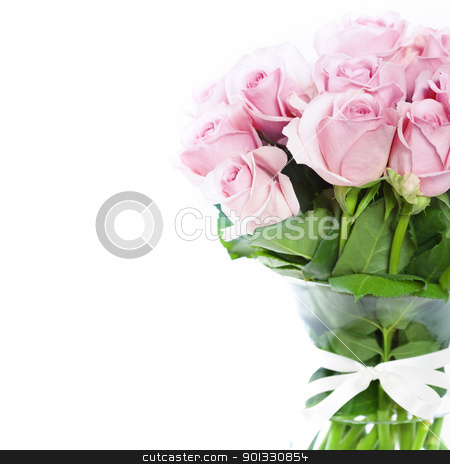 roses in a vase stock photo, bouquet of pink roses in vase on the white background by klenova