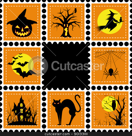 Halloween illustration set of stamp stock vector clipart, Halloween set of stamp on orange black background by meikis