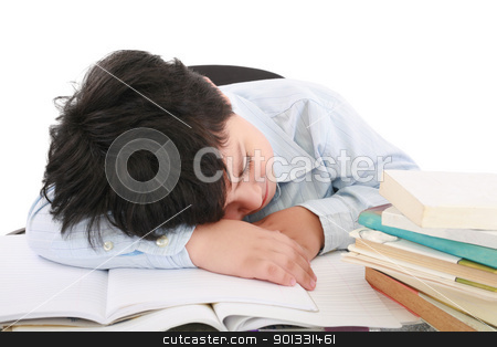 adorable boy tired to study a over white background  stock photo, adorable boy tired to study a over white background  by dacasdo