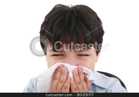sick boy blowing his nose, white background   stock photo, sick boy blowing his nose, white background     by dacasdo