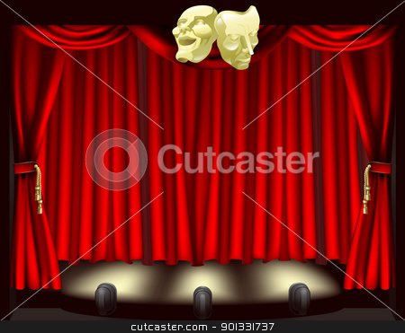 Theatre stage with masks stock vector clipart, Theatre stage with curtains, footlights, and comedy and tragedy masks by Christos Georghiou