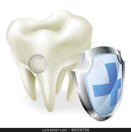 Tooth protection concept stock vector clipart, Protected teeth concept. Shiny tooth illustration with protective shield symbol. by Christos Georghiou