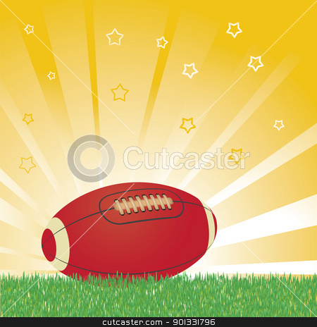 American football ball stock vector clipart, American football ball on field and shiny background by antkevyv