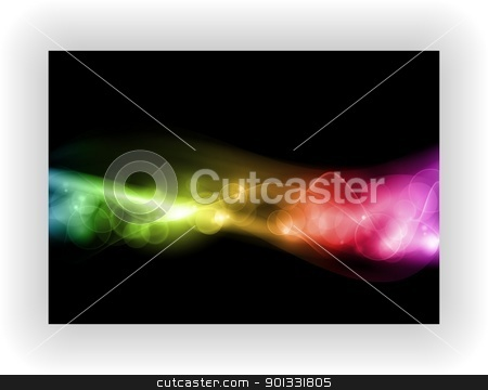 Abstract colorful light pattern stock vector clipart, Abstract colorful pattern with defocused lights on black background with space for your text. EPS10, contains transparencies. by Ina Wendrock