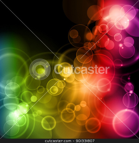 Magic lights in rainbow colors stock vector clipart, Blurry lights in rainbow colors on dark background with space for your text. EPS10 background with transparencies. by Ina Wendrock