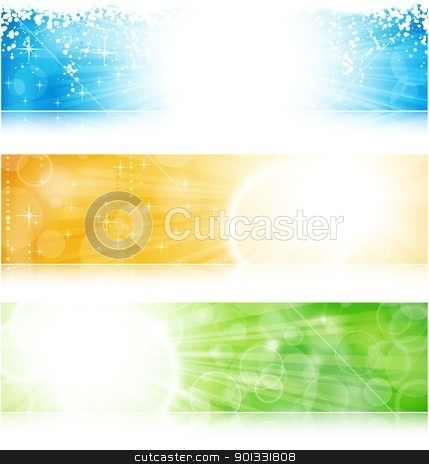 Light burst banner set stock vector clipart, Vector header / banner light burst banner set in green, blue and gold for festive occasions with copyspace. EPS10 background with transparencies. by Ina Wendrock