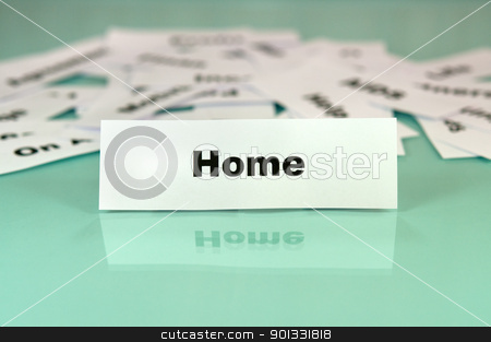 Home stock photo, Piece of paper with the word or sign home  by borojoint